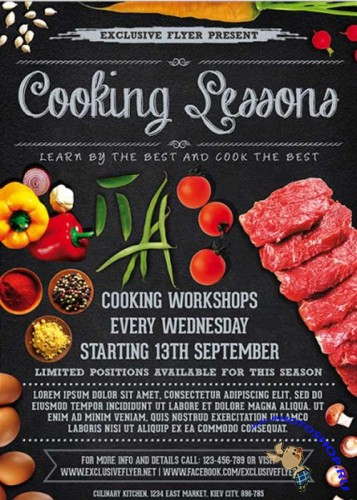 Cooking Lessons Premium Business Flyer PSD Template