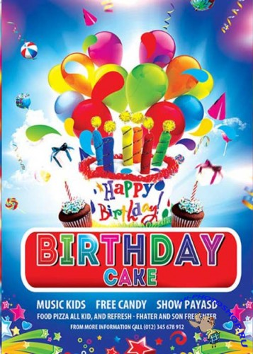 Birthday Cake Premium Flyer Template + Facebook Cover