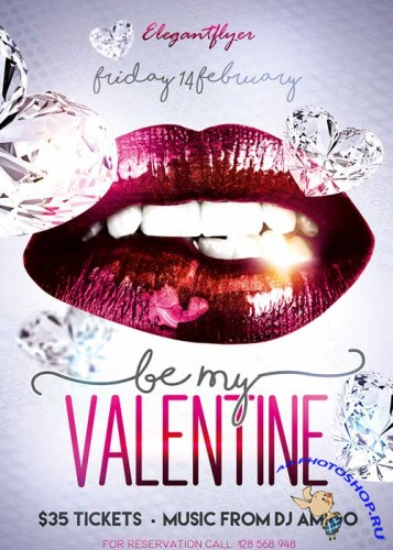 Be My Valentine Party Flyer PSD Template + Facebook Cover
