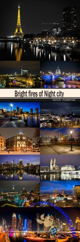 Bright fires of Night city