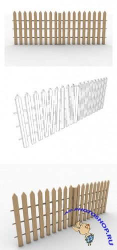 Realistic garden fence low poly model - 3dOcean 981036