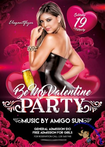Be My Valentine Party V02 Flyer PSD Template + Facebook Cover