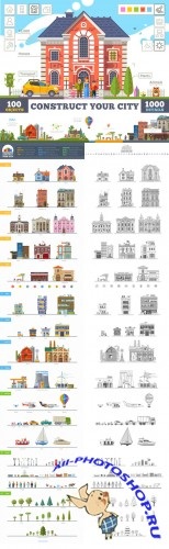 Construct your city, flat vector KIT - Creativemarket 157909