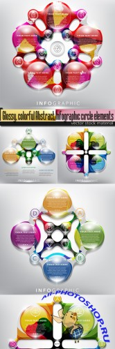 Glossy, colorful Abstract Infographic circle elements