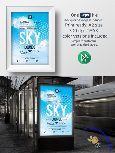 Sky lounge poster template - Creativemarket 58778
