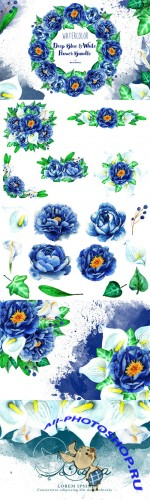 Deep Blue & White Flower Bundle - Creativemarket 553161