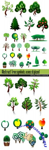 Abstract Tree symbols, icons stylized