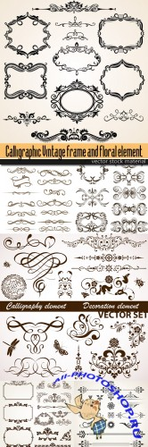 Calligraphic Vintage frame and floral elements