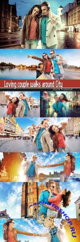 Loving couple walks around City