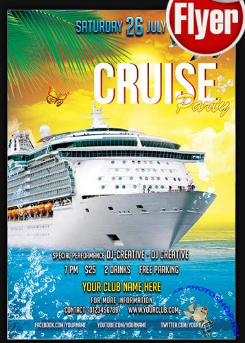 Cruise Party Flyer V2 PSD Template + Facebook Cover