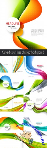 Curved color lines abstract background
