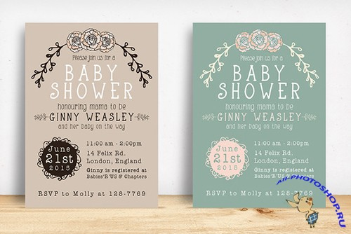 Baby Shower Invitation - Creativemarket 222396