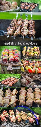 Fried Shish kebab outdoors
