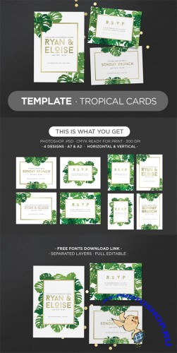 Template Tropical Cards - Creativemarket 309553