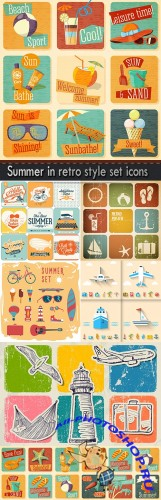 Summer in retro style set icons