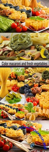 Color macaroni and fresh vegetables