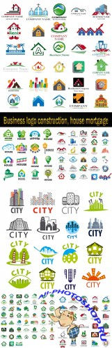 Business logo construction, house mortgage