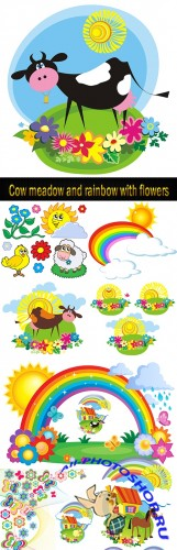 Cow meadow and rainbow with flowers