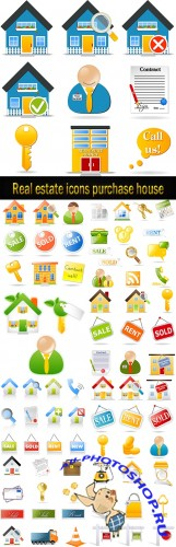 Real estate icons purchase house