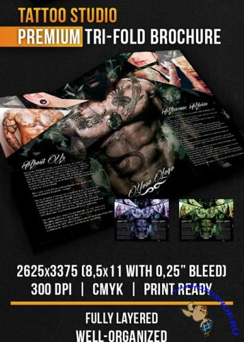 Tattoo Studio Tri-Fold Brochure PSD Template