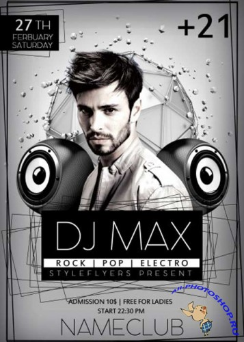 Dj Max PSD Flyer Template with Facebook Cover