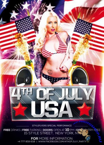 4th Of July USA V2 Flyer PSD Template + Facebook Cover