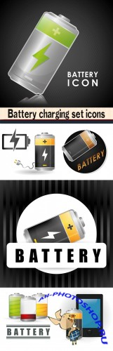 Battery charging set icons