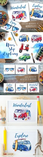 Watercolor travel set - Creativemarket 691701