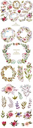 Watercolor flowers & wreaths - Creativemarket 681069