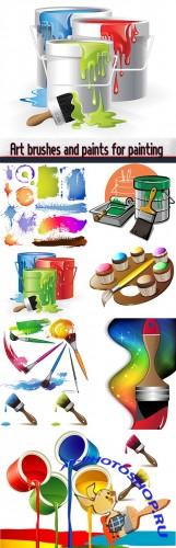 Art brushes and paints for painting