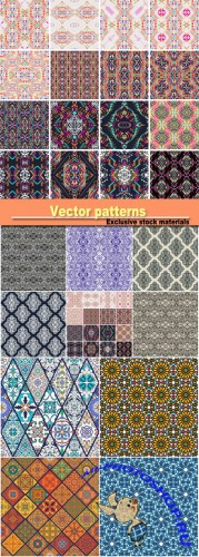 Vector background with patterns, vintage ornaments
