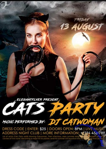 Cats Party V1 Flyer PSD Template + Facebook Cover