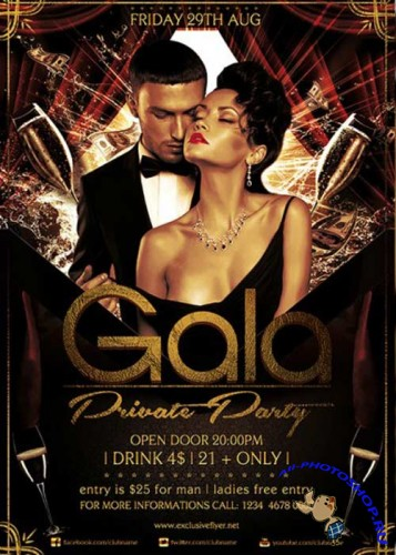Gala Private Party V1 Premium Flyer Template + Facebook Cove