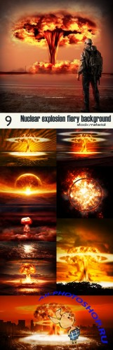 Nuclear explosion fiery background