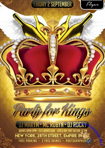 Party for Kings V1 Flyer PSD Template + Facebook Cover