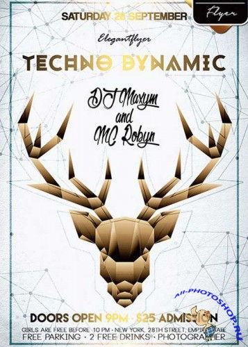 Techno Dynamic V1 Flyer PSD Template + Facebook Cover