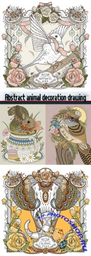 Abstract animal decoration drawing