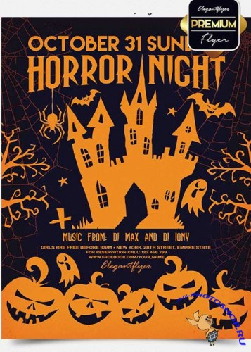 Horror Night Flyer PSD V4 Template + Facebook Cover