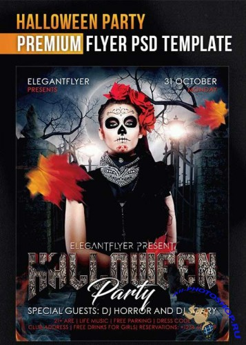 Halloween Party V14 Flyer PSD Template + Facebook Cover