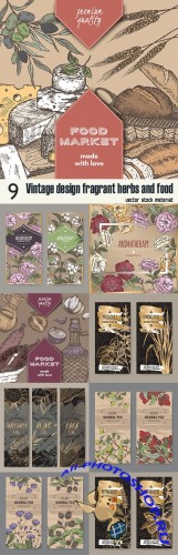 Vintage design fragrant herbs and food