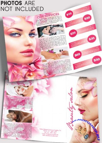 Beauty Salon V5 Tri-Fold Brochure PSD Template