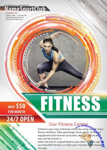 Fitness PSD V10 Flyer Template with Facebook Cover