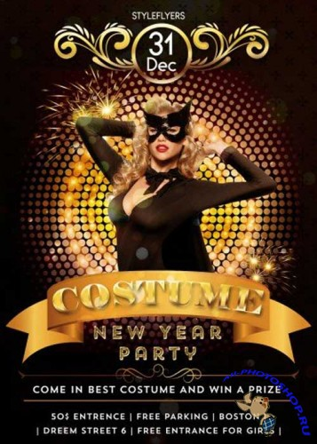Costume New Year party PSD V1 Flyer Template with Facebook Cover