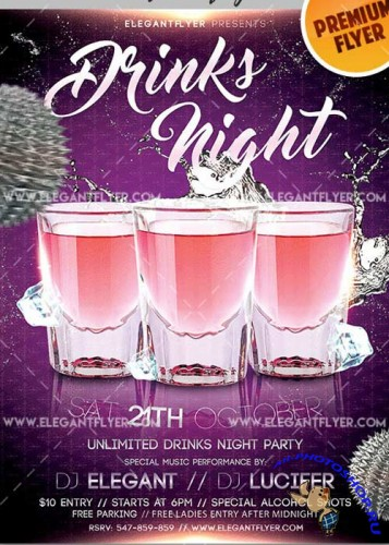 Drinks Night Flyer PSD V7 Template + Facebook Cover