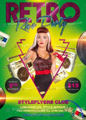 Retro Rave Party V4 PSD Flyer Template