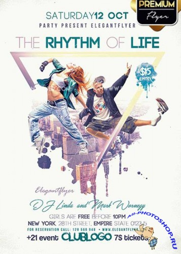 The Rhythm Of Life V1 Flyer PSD Template + Facebook Cover