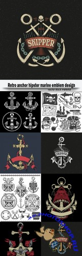 Retro anchor hipster marine emblem design