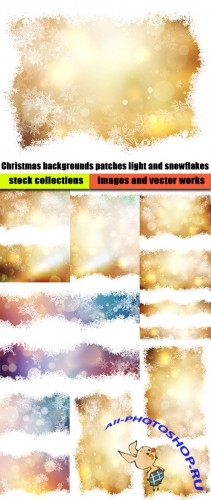Christmas backgrounds patches light and snowflakes