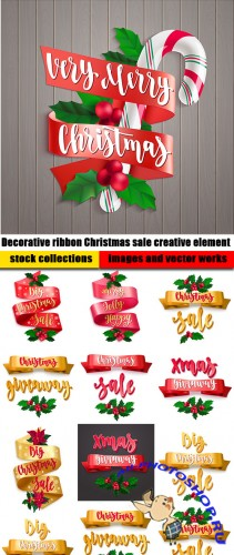 Decorative ribbon Christmas sale creative element
