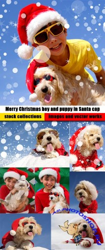 Merry Christmas boy and puppy in Santa cap